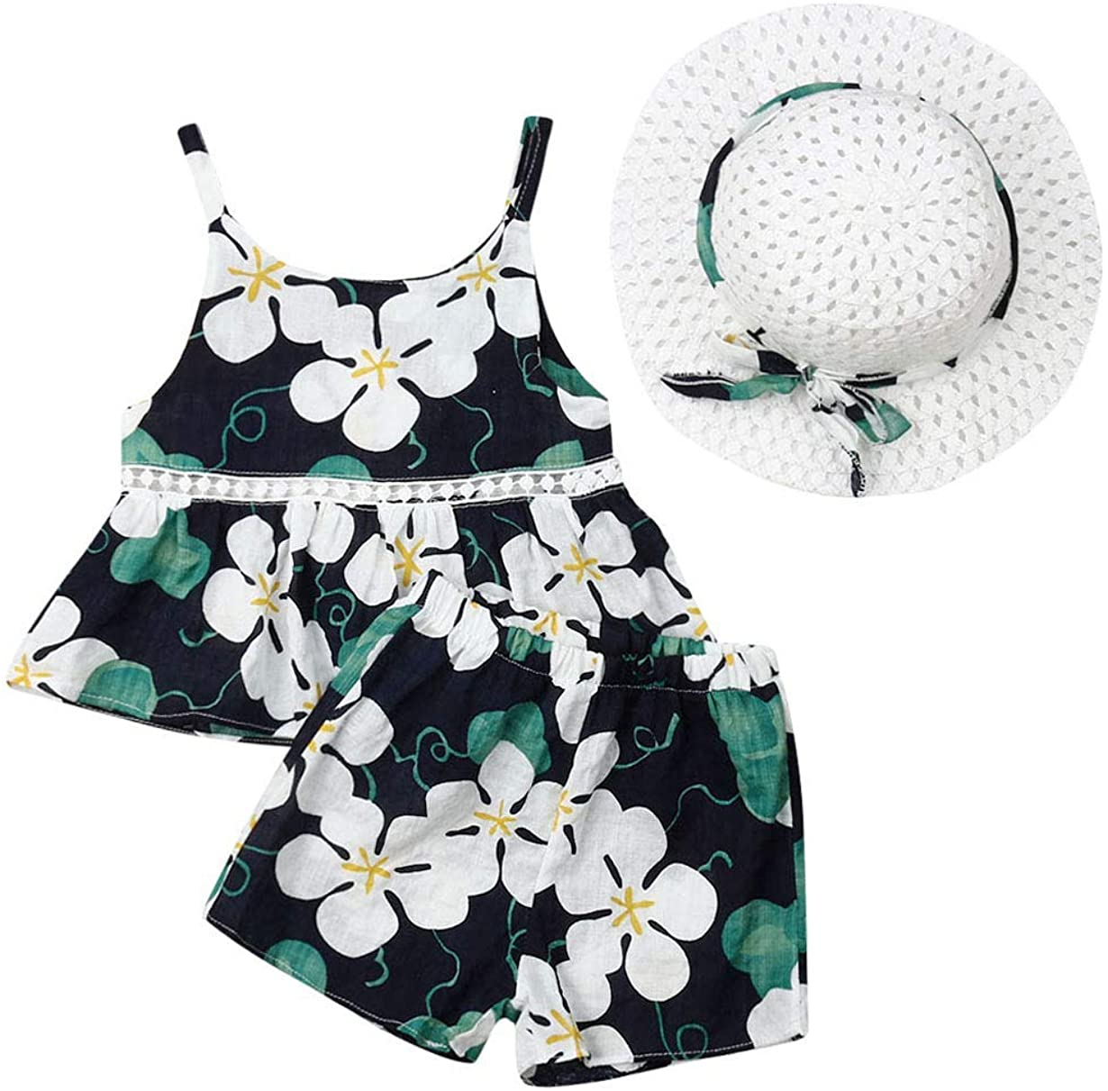 Baby Toddler Girls Clothes 2T 3T 4T 5T 6T Summer Outfits Halter Top & Short Sets Floral Flamingo Print