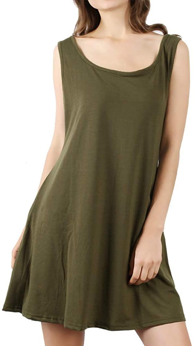 DD DEMOISELLE T-Shirt Dress for Ladies, Women Summer Casual T Shirt Dresses Beach Cover up Plain Pleated Tank Dress Army Green XL