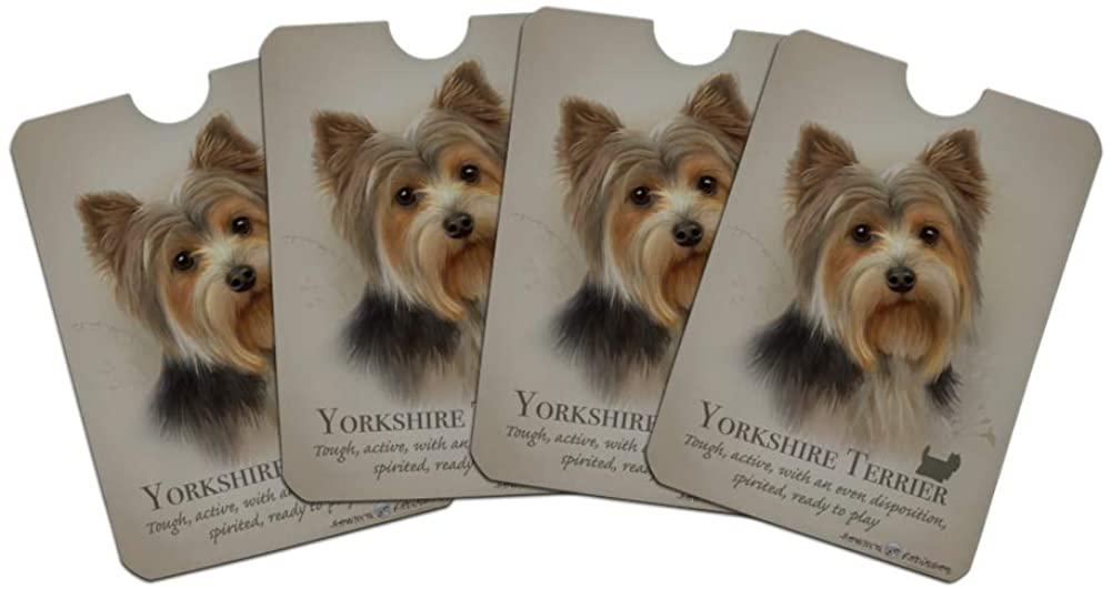 Yorkshire Terrier Yorkie Dog Breed Credit Card RFID Blocker Holder Protector Wallet Purse Sleeves Set of 4