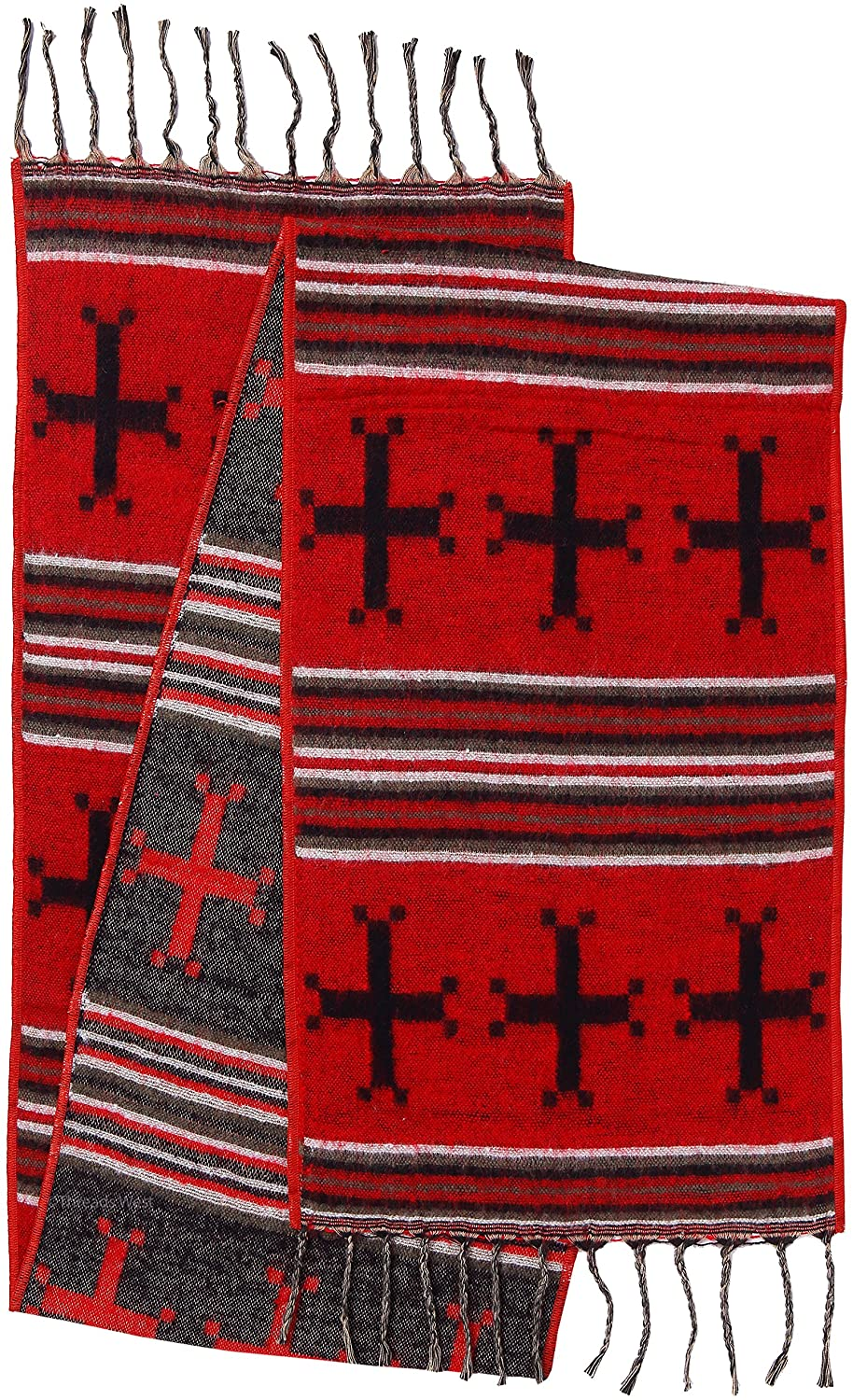 """Rustic Covenant """" Western Scarves Collection """" Southwest Fashion Scarf for Women, Triple Crosses Red, 12 Inches by 72 Inches"""