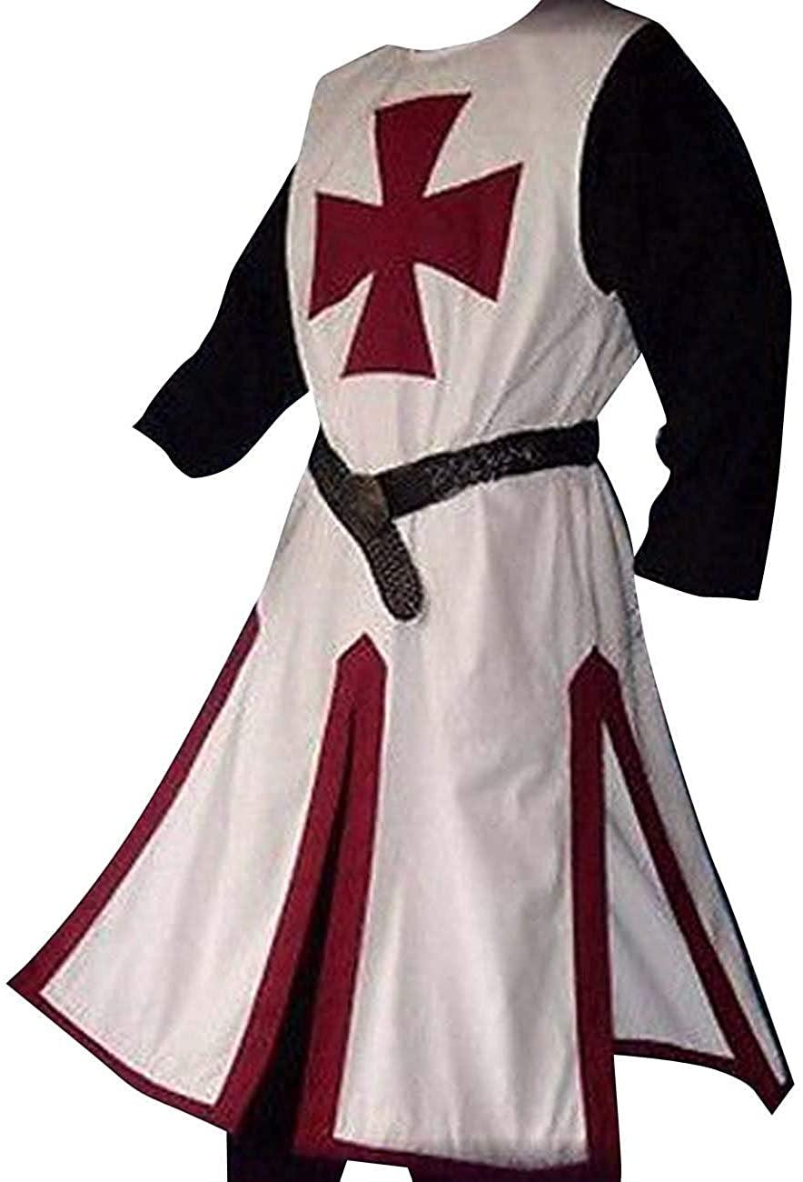 Mens Medieval Crusader Knights Templar Tunic Costumes Renaissance Halloween Surcoat Warrior Black Plague Cloak Cosplay Top