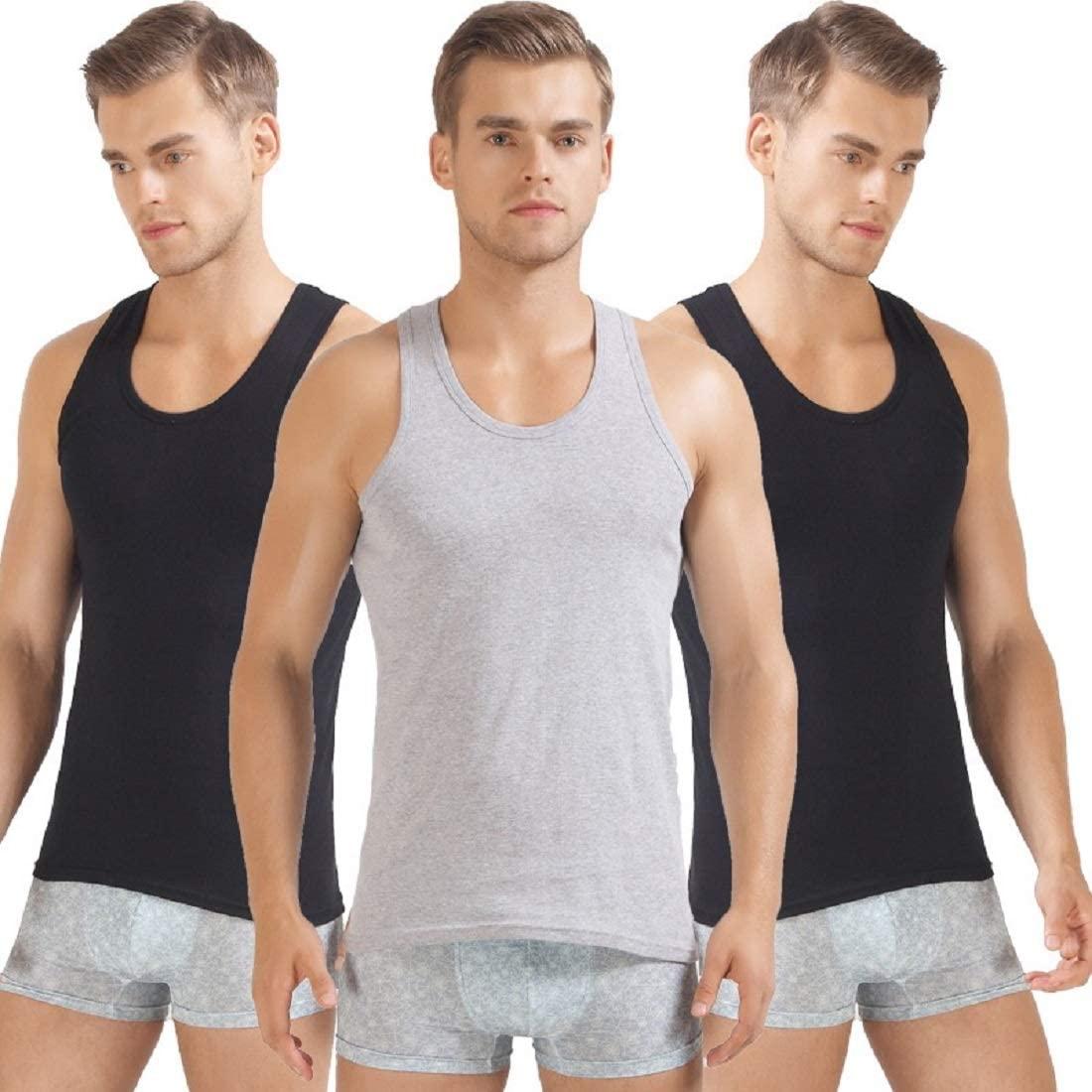 MIXZONES Mens 100% Cotton Ribbed Tank Tops Sleeveless Crewneck A-Shirts Basic Solid Undershirts Vests 3 Pack