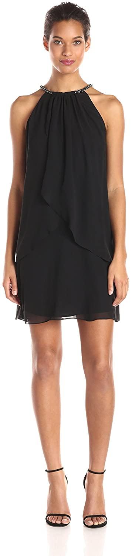 S.L. Fashions Womens Solid Chiffon Halter Dress (Petite and Regular)