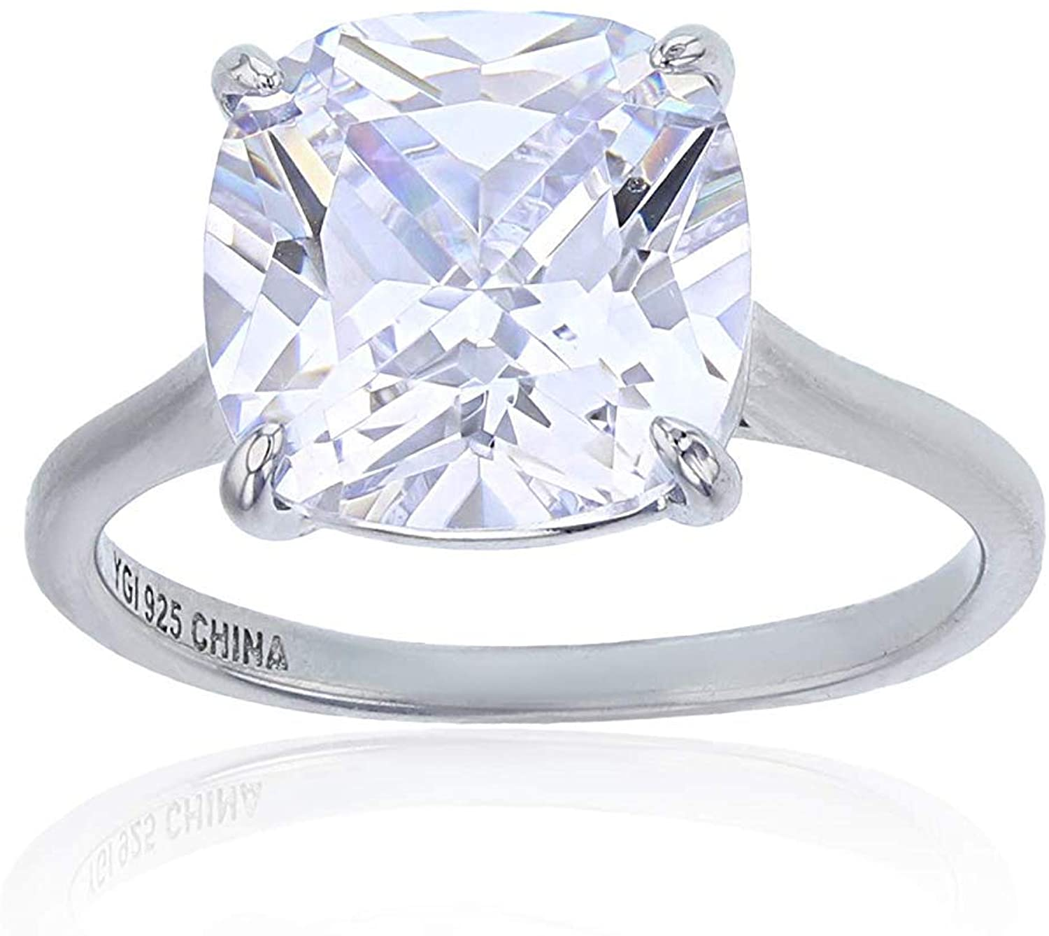 Sterling Silver Rhodium 10mm Cushion Cut Cubic Zirconia Solitaire Engagement Ring