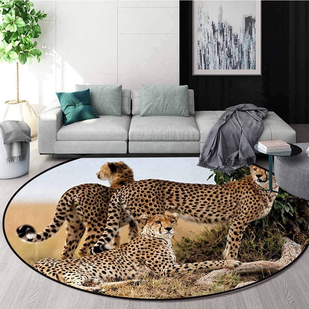 Africa Modern Machine Washable Round Bath Mat,Cheetahs Mother and Two Young Baby Looking for Food Dangerous Exotic Animals Non-Slip Soft Floor Mat Home Decor Diameter-51 Inch,Tan Black