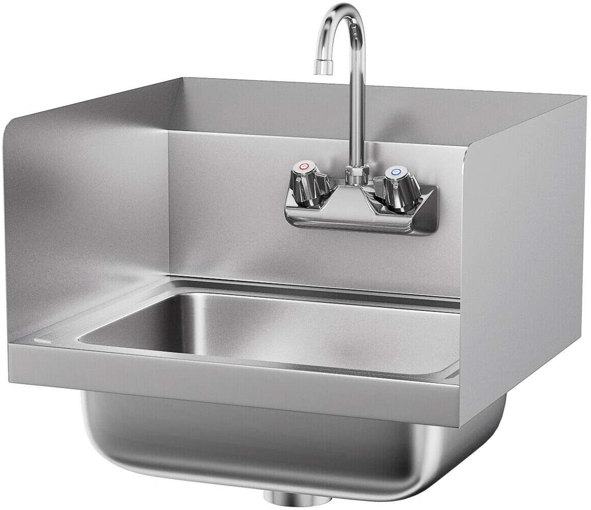 Stainless Steel Hand Washing Sink NSF Commercial with Faucet and Side Splashes, Size 15 x 17 x 9.5 inches, Perfect Wash and Prep Sink for Kitchen, Bar, Janitorial Room or The Commercial Setting.