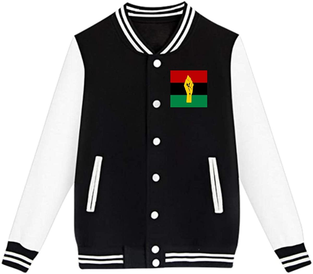Black Power Pan African Flag Baseball Jacket Custom Fleece Varsity Uniform Sport Coat for Youth