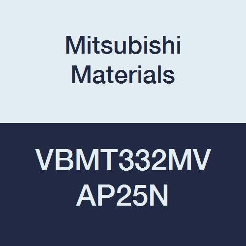 Mitsubishi Materials VBMT332MV AP25N Cermet VB Type Positive Turning Insert with Hole, Stable Cutting, Coated, Rhombic 35°, 0.375