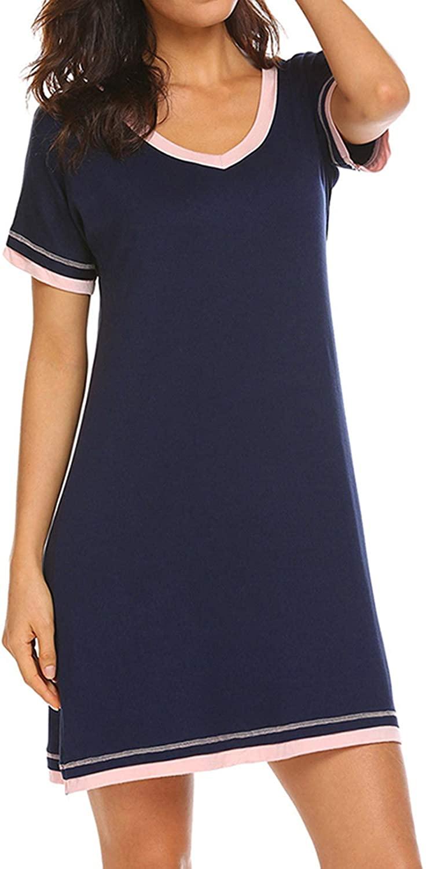 Zando Sleep Shirts for Women Soft Nightdress Cute Pajamas Short Sleeve Sleep Shirt Dress Sleepwear