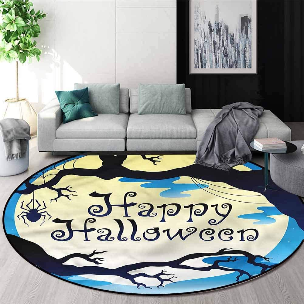 Halloween Modern Round Abstract Area Rug,Spooky Night with Moon Pattern Floor Seat Pad Home Decorative Indoor Diameter-51