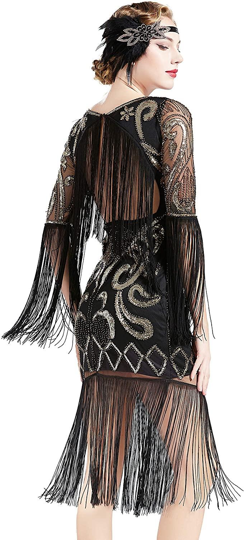 BABEYOND 1920s Flapper Dress Long Fringe Gatsby Dress Roaring 20s Sequin Beaded Dress Vintage Art Deco Dress