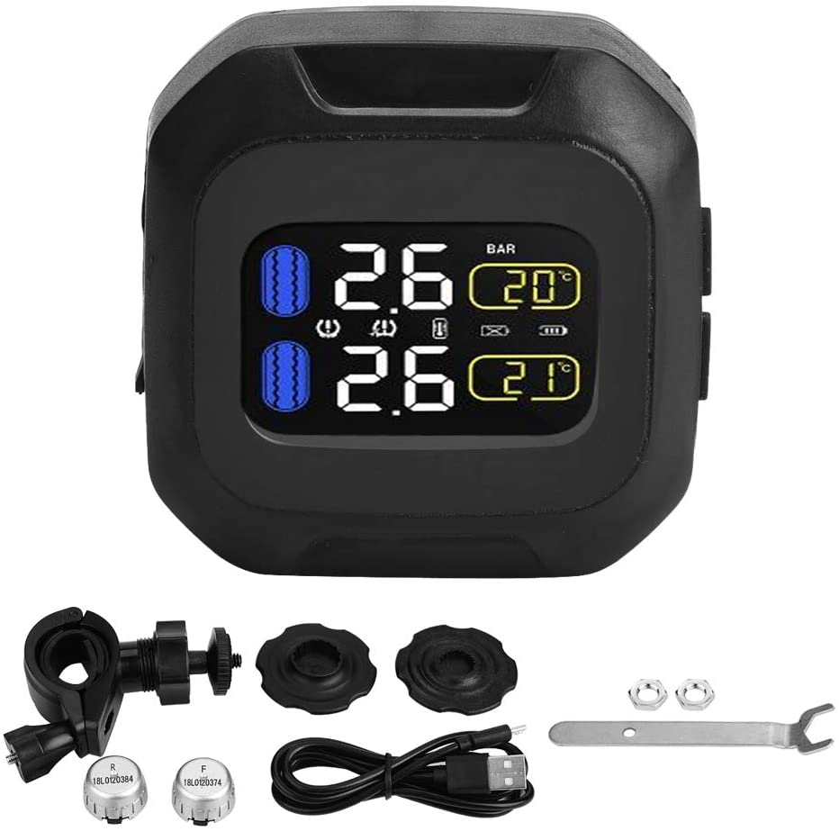 Motorcycle Wireless TPMS Sensor, Waterproof TPMS Tire Pressure Monitor System with 2 External Sensors