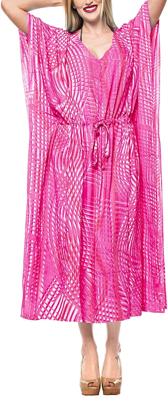 LA LEELA Women's Plus Size Kaftan Blouse Summer Beach Dress Caftan Hand Tie Dye