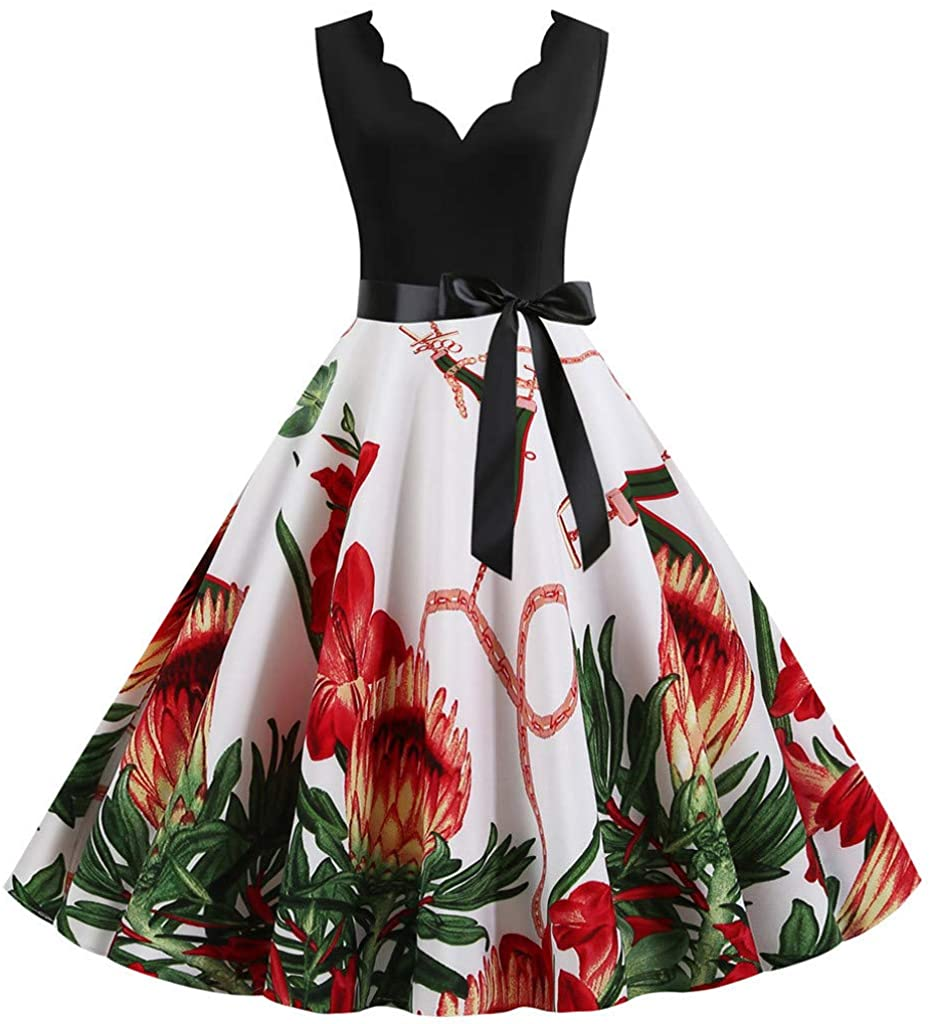 iLOOSKR Women Flower Printed Sleeveless Patchwork Flowy Plus Size Pleated Dress with Belt