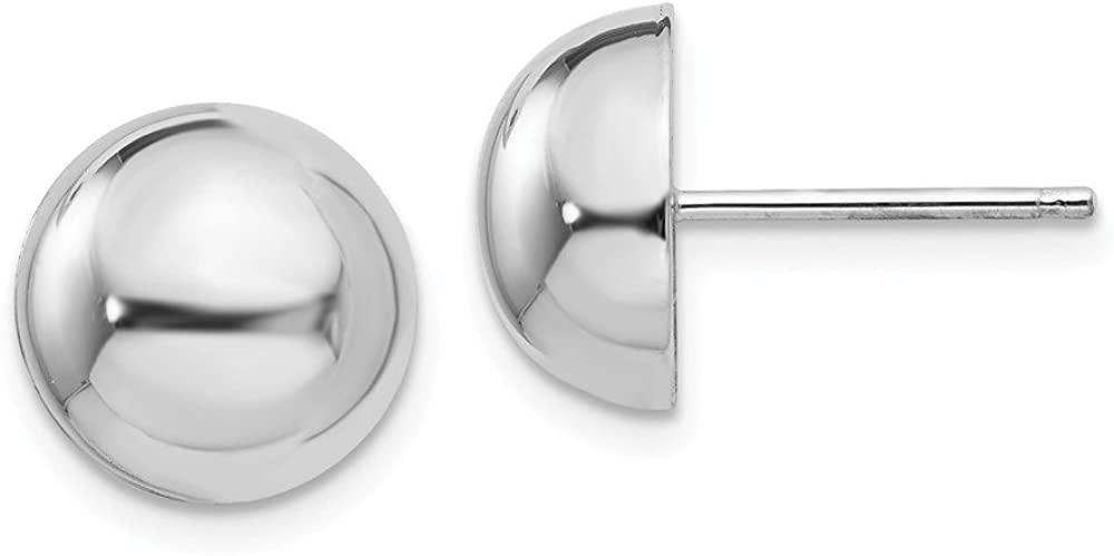 14k White Gold 10mm Half Ball Post Earrings