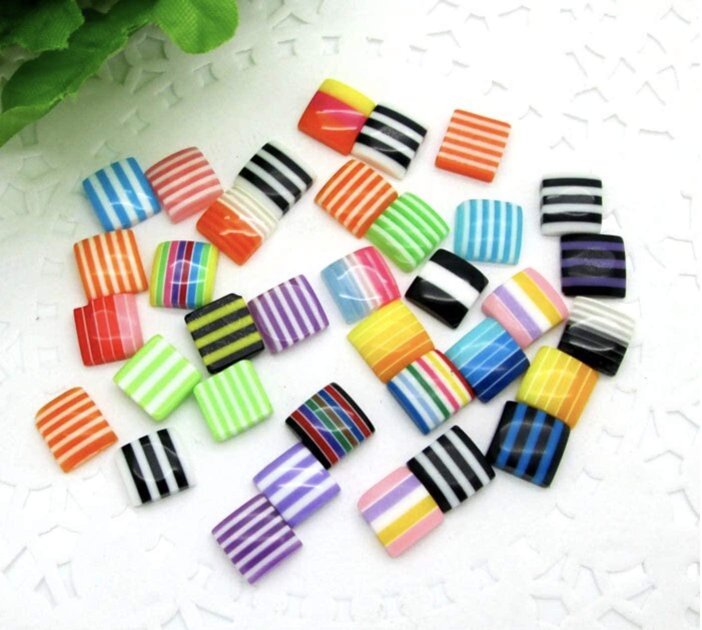 50pcs 8mm / 10mm Rainbow Stripe Square Resin Flatback Cabochons Colourful Retro Beads Scrapbooking (10mm - F917)