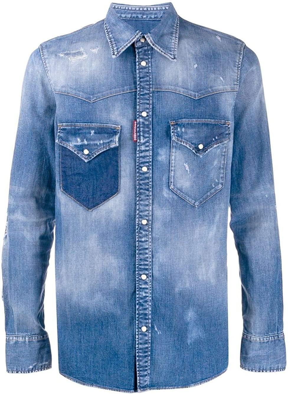 DSQUARED2 Luxury Fashion Man S71DM0402S30341470 Blue Cotton Shirt | Spring Summer 20