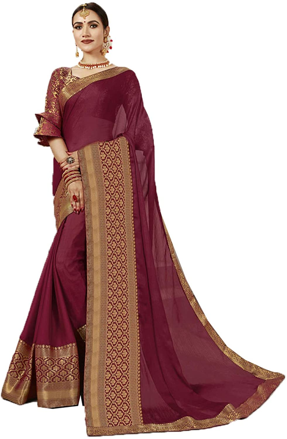Saree for Women Bollywood Wedding Designer Maroon Sari with Unstitched Blouse. ICW2559-1