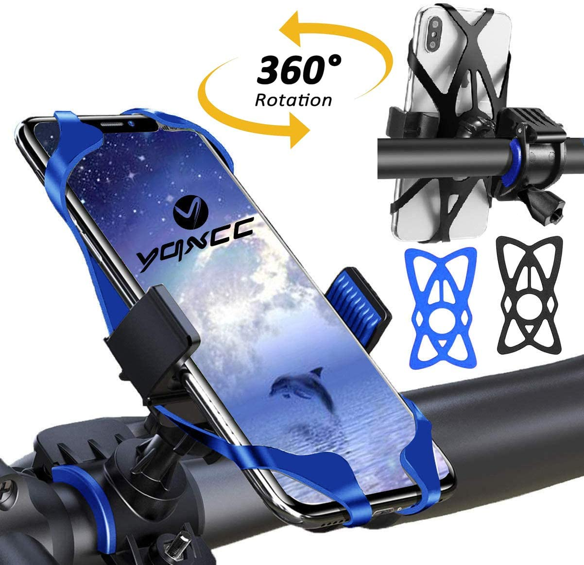 YQXCC Bike Phone Mount Bicycle Motorcycle Holder, 360° Rotation Bike Phone Holder, Bike Accessories, Universal Cradle Clamp for iOS Android Smart Phone (Blue)