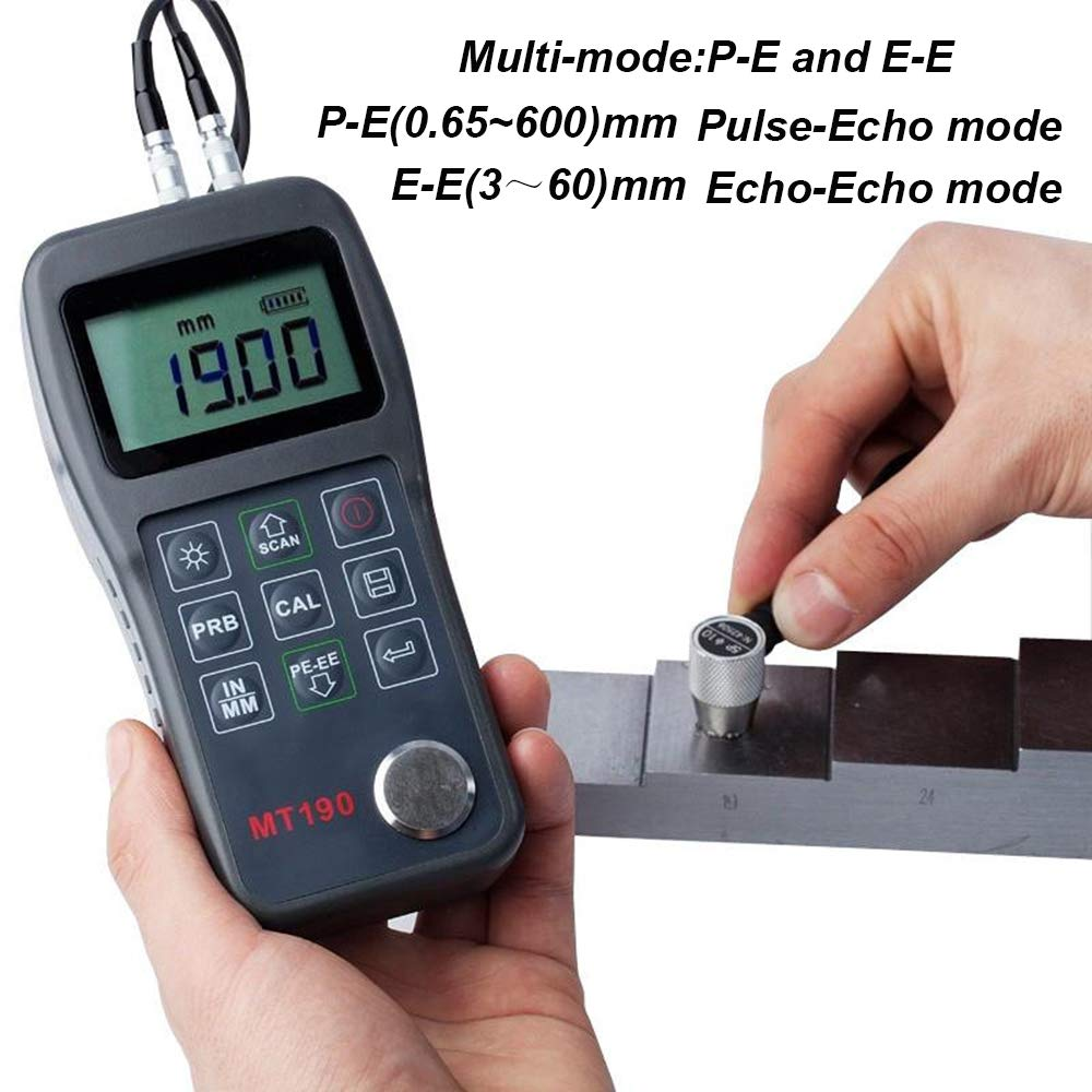 Digital Ultrasonic Thickness Gauge Tester Meter MT190 with 0.65 to 600mm 0.025 to 23.62inch for Steel Aluminum Copper Pulse Echo Mode