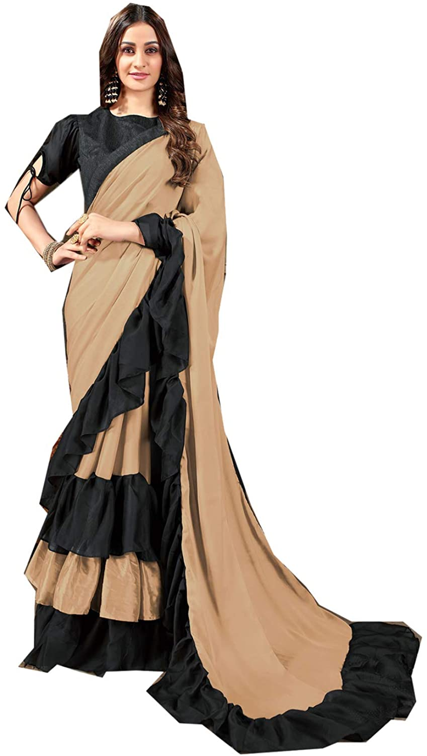 Saree for Women Bollywood Wedding Designer Rangoli Georgette Sari with Unstitched Blouse. Beige