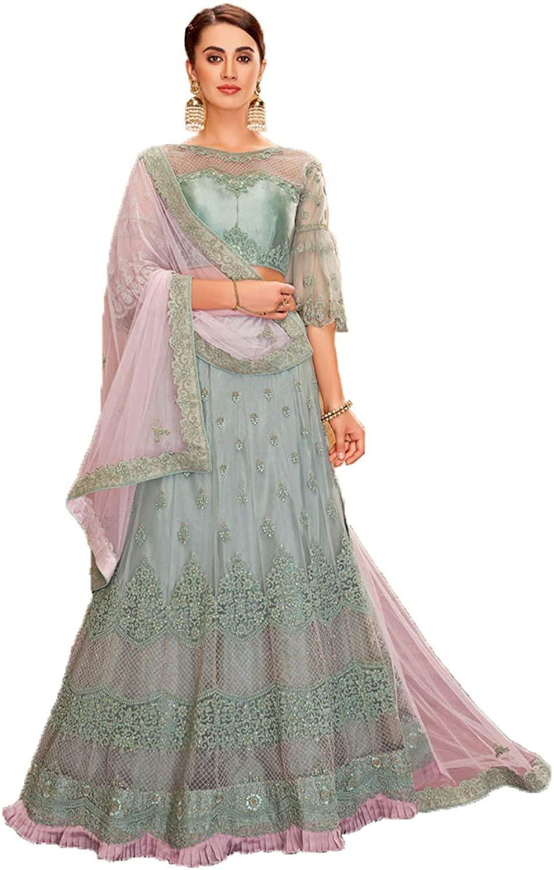 Indian Women Designer Partywear Ethnic Traditional Pastel Blue Lehenga Choli. ICW2755-13