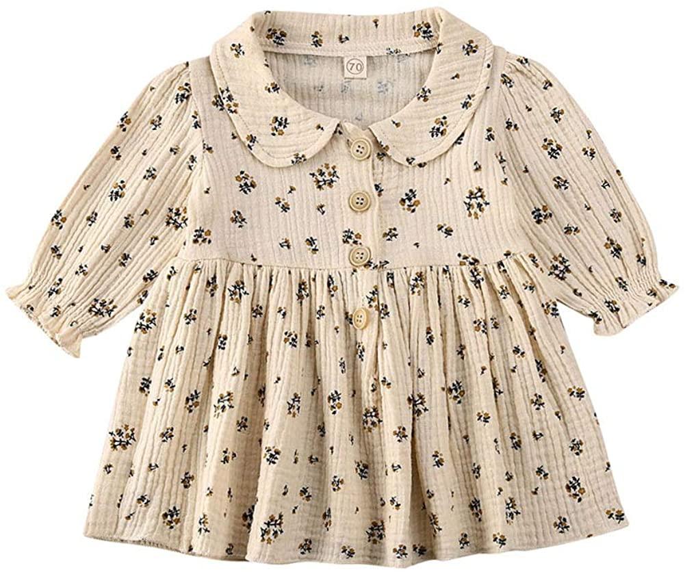 Toddler Infant Baby Girl Puff Long Sleeve Cotton Linen Ruffle Dress Doll Collar Causal Playwear Fall Winter Clothes Set