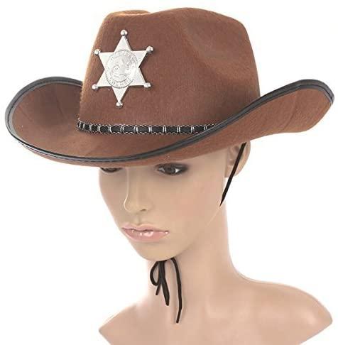 BESTOYARD Cowboy Hat Western Sheriff Hat Fancy Dress Cowboy Themed Birthday Halloween Christmas Party Costume Brown
