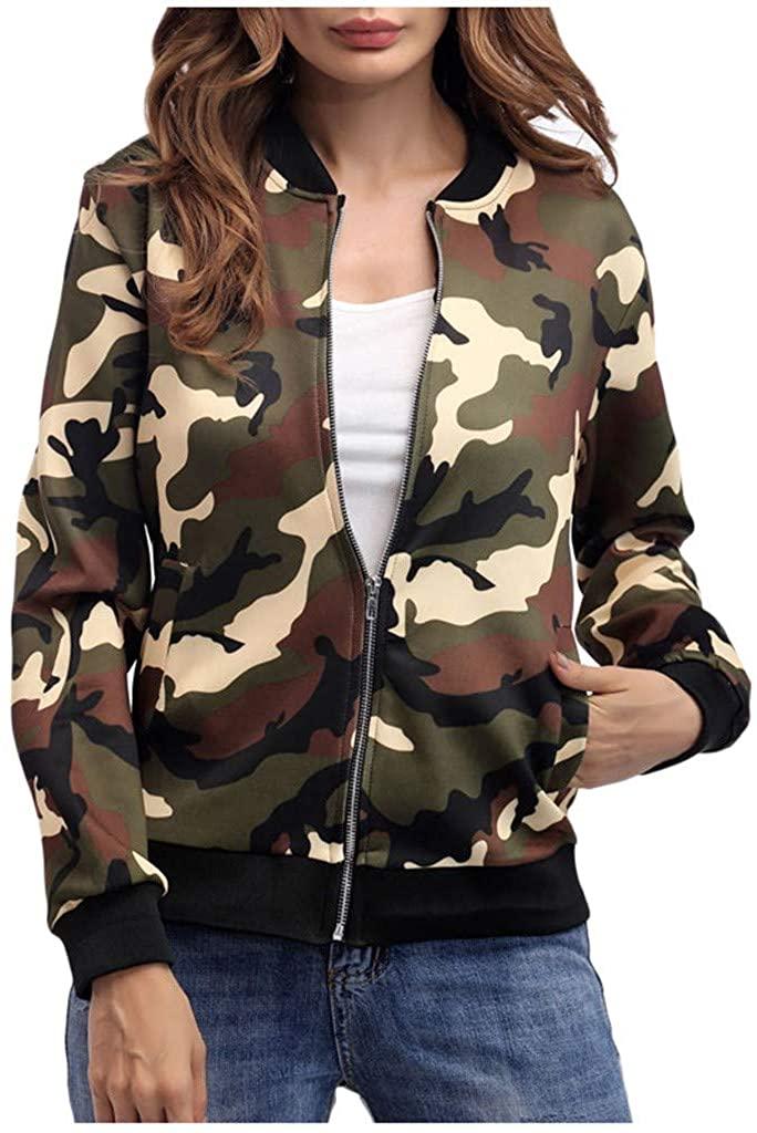 TUSANG Women's Blouse Camouflage Print Blouse Fashion Baseball Coat Zipper V-Neckline Slim Fit Jacket Tunic
