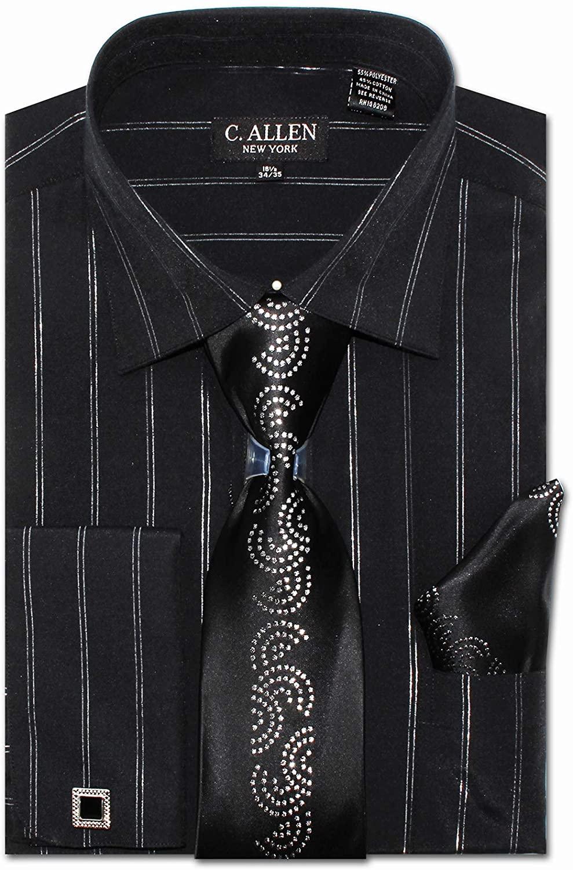 Men's Regular Fit Dress Shirts with Metal Fabric Tie Hanky Cufflinks Collar Bar Combo Satin Collar