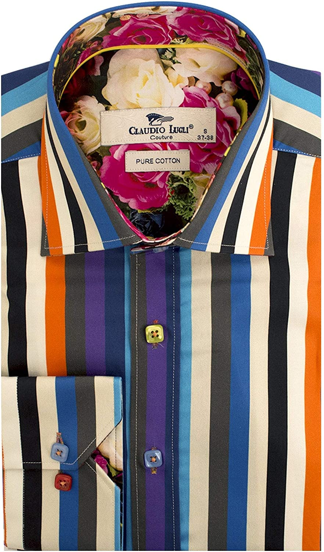 Claudio Lugli Multistripe Print Floral Trim Long Sleeve Mens Shirt