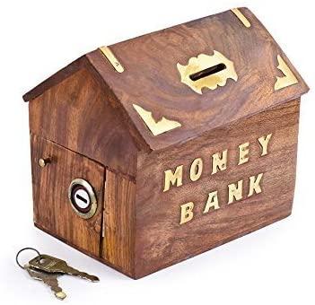IndiaBigShop Elegant Indian Handmade Wooden Money Bank in Hut Shape with Decorative Work 4 x 4 inch