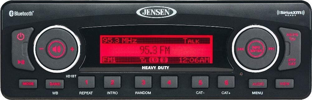 Jensen HD1BT AM/FM/WB/USB/SiriusXM Ready/Bluetooth Stereo with Full iPhone/iPod Controls, 50W x 4 Maximum Power Output, Bluetooth Streaming Audio (A2DP, AVRCP), AM/FM tuner (US/Euro) (Renewed)