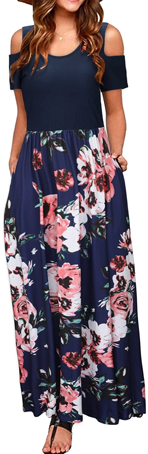 STYLEWORD Women's Summer Cold Shoulder Floral Sundress Casual Long Maxi Dress with Pocket