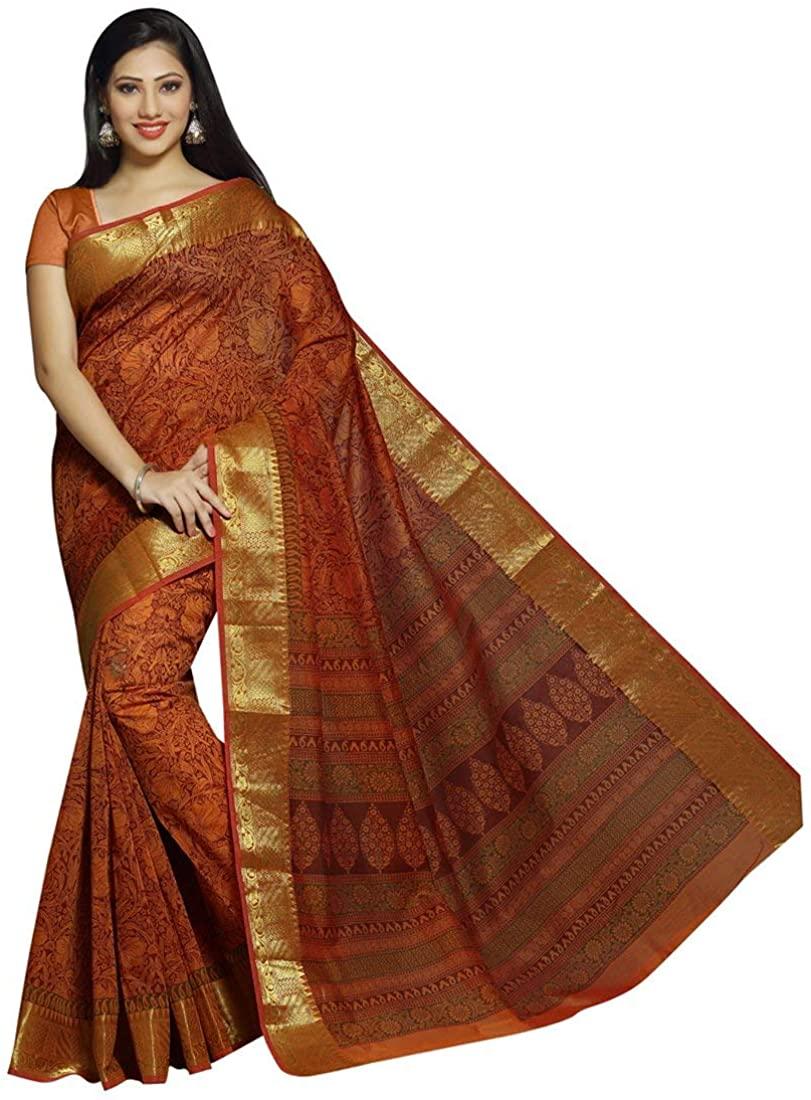 Indian Decor & Attire Art Silk Saree with Unstitched Blouse Piece Orange