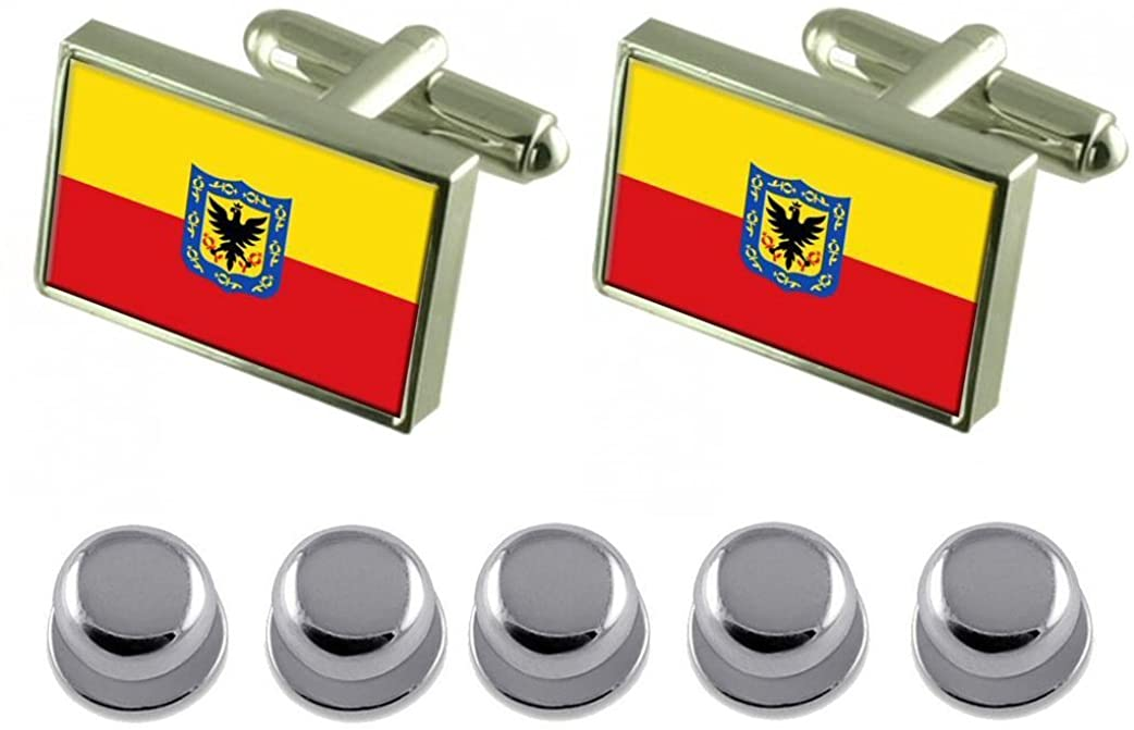 Select Gifts Shirt Dress Studs Bogota City Colombia Flag Cufflinks