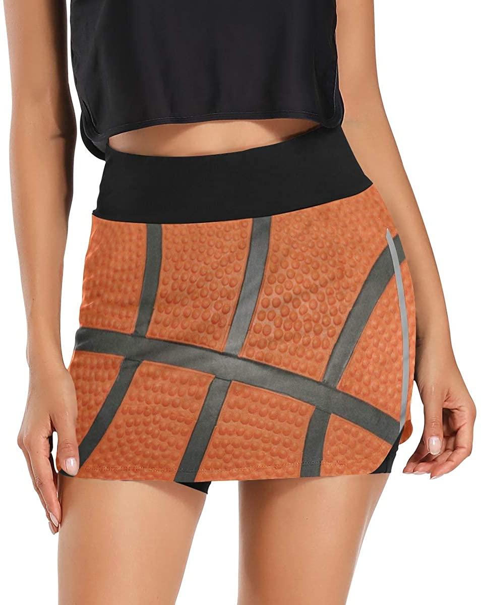Skorts Skirts for Women Orange Sport Ball Basketball Golf Skirts with Pockets Inner Biker Shorts Workout