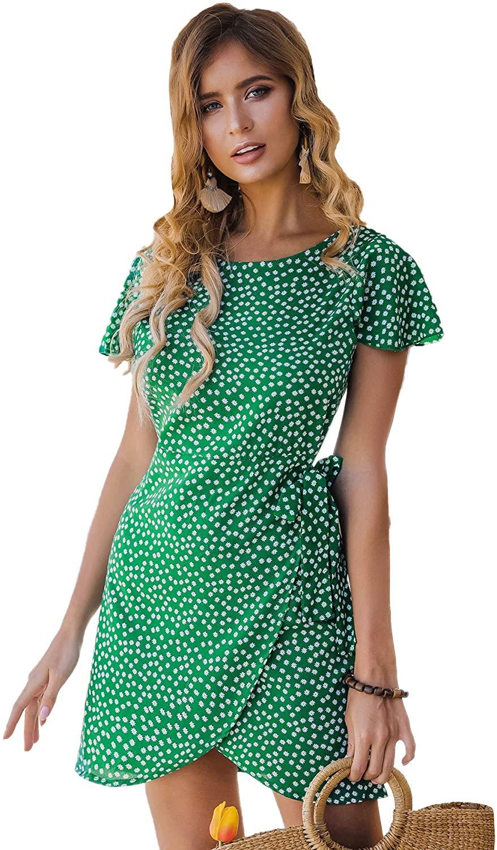 Floerns Women's Ditsy Floral Short Sleeve Tie Side Wrap Short Dress