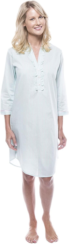Noble Mount Women's 100% Cotton Poplin Long Sleeve Tunic Sleep Shirt