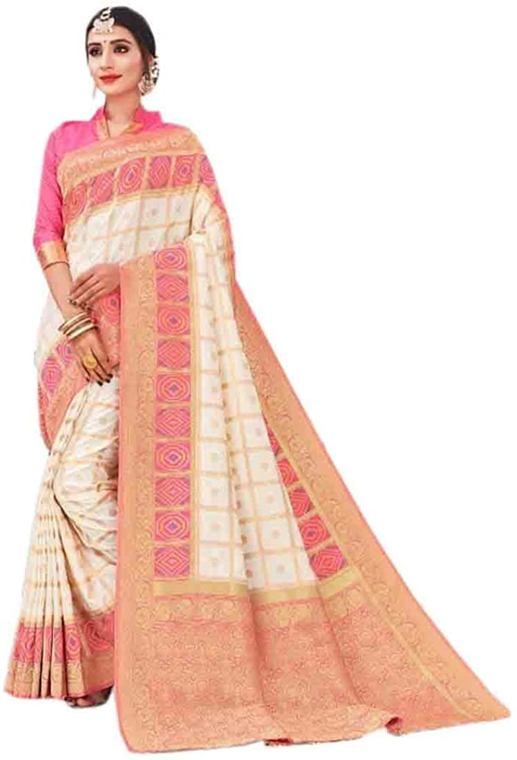 Shady White Wedding Party Wear Heavy Border Silk Sari Indian Saree Blouse Muslim Dress 9875B