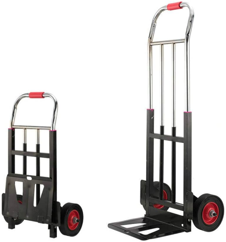 Faruxue Folding Hand Truck and Dolly, Thicken Steel Pipe Frame Luggage Cart, 330LBS Capacity Heavy-Duty Luggage Trolley Cart