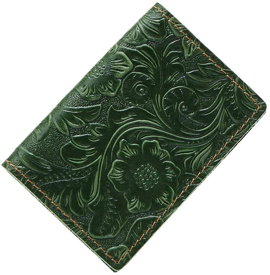 WENNEW Leather Card Case Card Set Vintage Brocaded Document Bag Ms. Card Holder Purse (Color : Green)