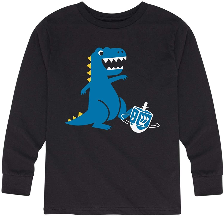 Instant Message Dinosaur with Dreidel - Toddler Long Sleeve Tee Black