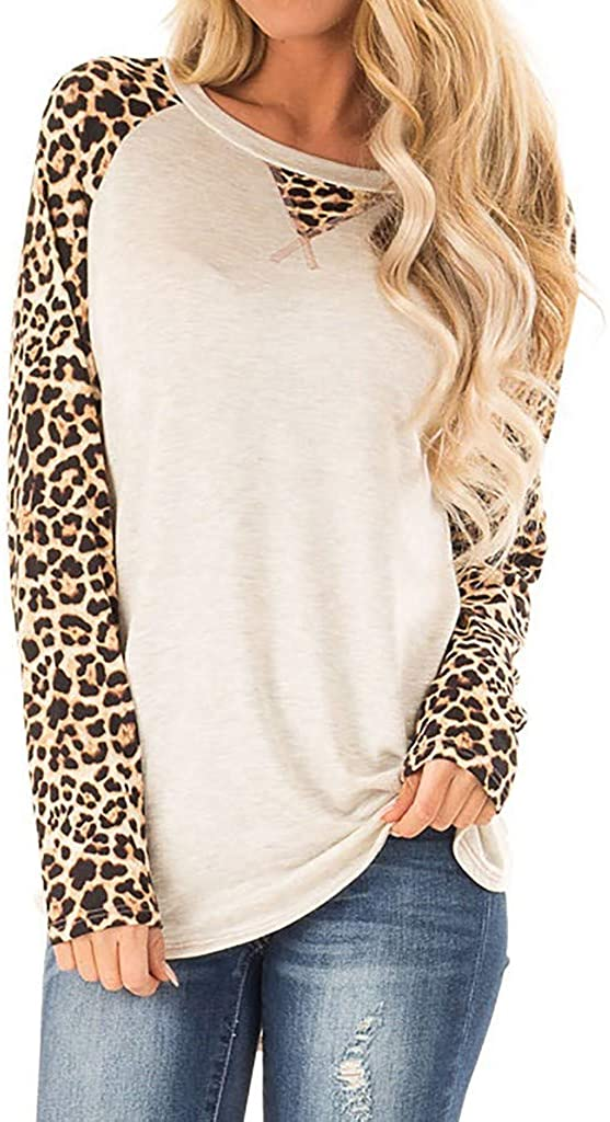 Adeliber T-Shirts for Women,Women's Fashion O-Neck Leopard Print Stitching Long-Sleeved T-Shirt Casual Blouse Tops
