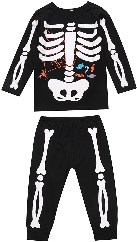 Little Fancy Unisex Boys Girls Kids Halloween Pajama Skeleton Costume Outfit Pants Set
