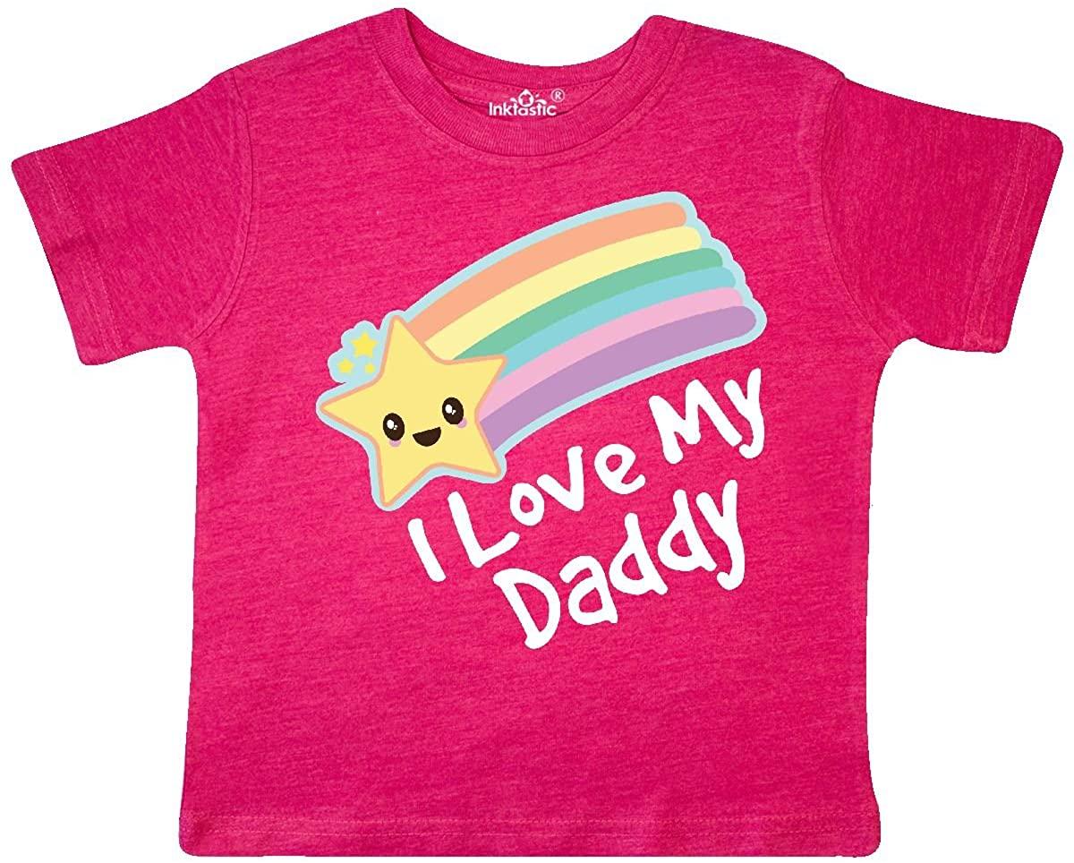 inktastic I Love My Daddy Boys Girls Star Rainbow Toddler T-Shirt