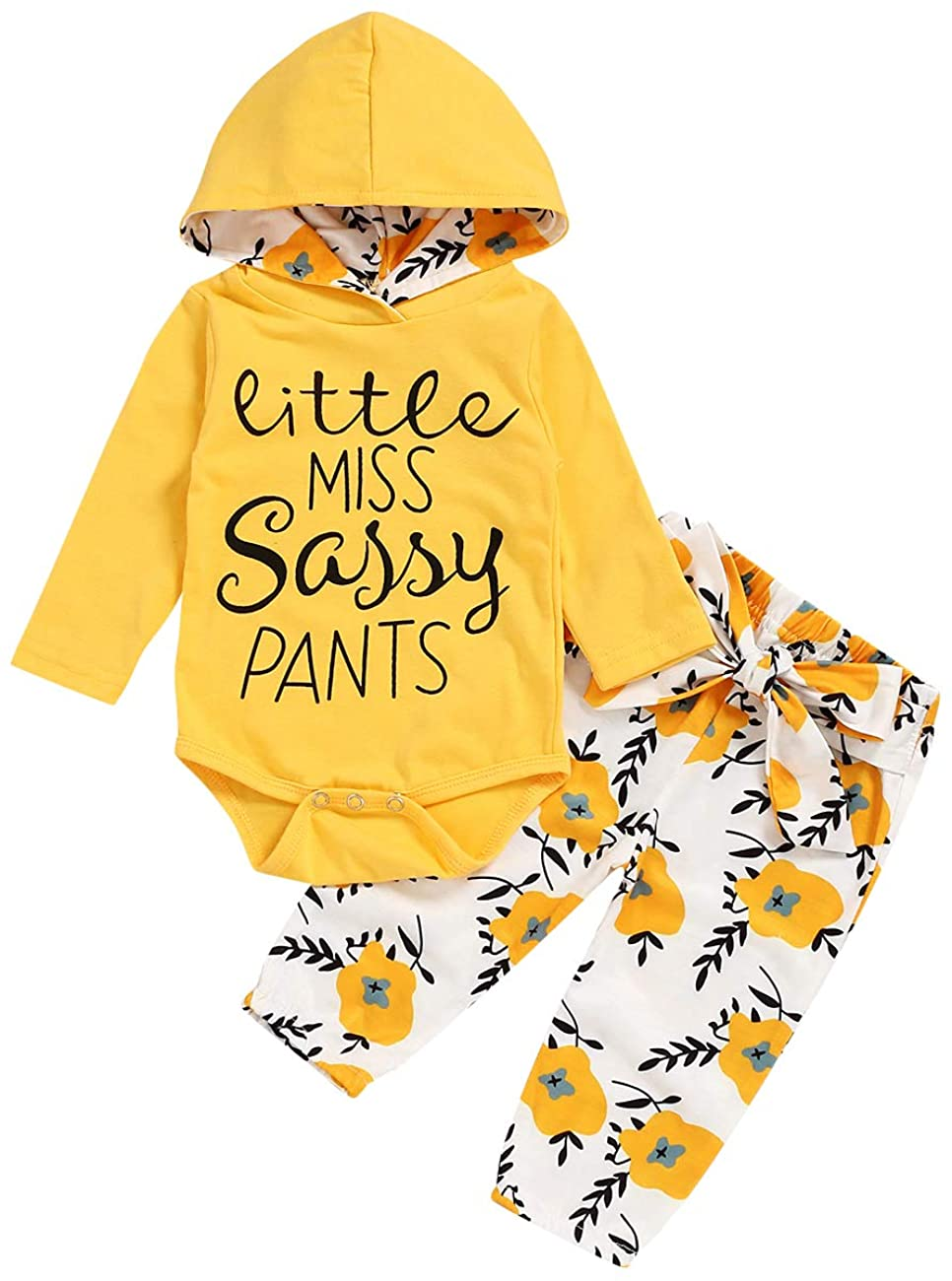 Infant Toddler Baby Girls Clothes Long Sleeve Hoodie Romper with Floral Pants Outfit Set 0-18 Months