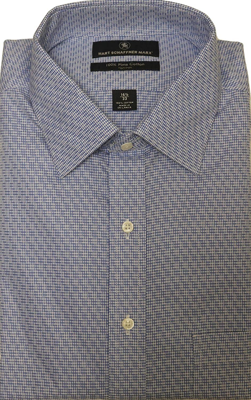Hart Schaffner Marx Non Iron Classic Fit Houndstooth Plaid Spread Collar Dress Shirt F75DI043 Blue