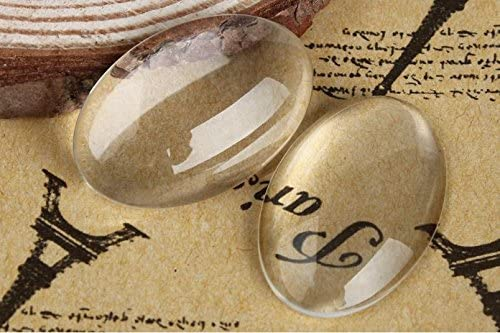 20 Clear Oval Glass Cabochons for Photo Pendant Bezels 20x30x6mm