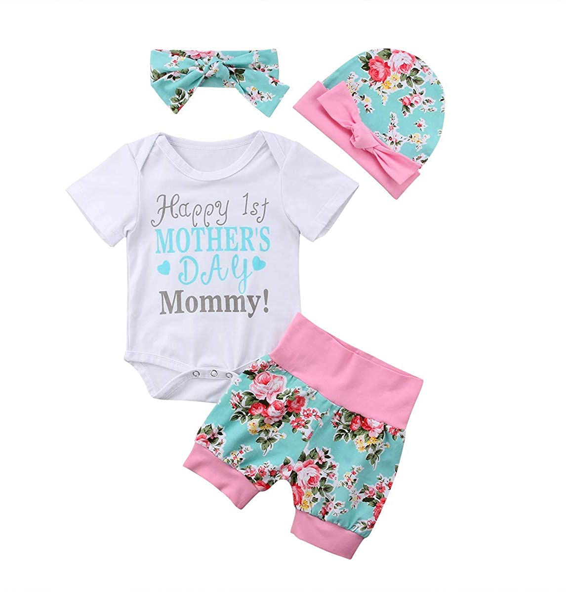 SWNONE 3PCS Short Set Baby Girls Happy 1st Mother's Day Romper Bowknot Hat Short Pant Mommy's Day Cute Clothes Set